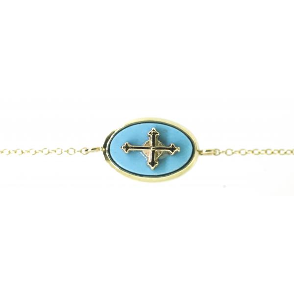 Bracelet croix turquoise